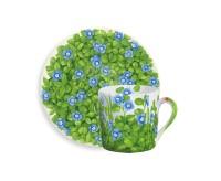 Taitu PRATI ITALIANI Espressotasse mit Untertasse 0,1 Liter (blaue Blüten)
