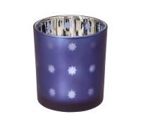 SALE Teelicht Teelichtglas Teelichthalter Domo, blau / silber, Sternchen-Motiv, Höhe 8 cm