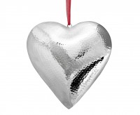 SALE Anhänger Deko Herz, zum Hängen, Edelstahl gehämmert hochglanzpoliert, 23 x 23 x 4,5 cm