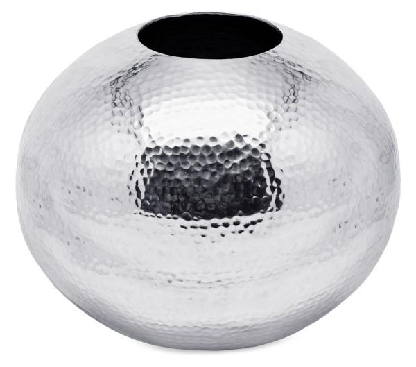 SALE Vase Dekovase Arvada, Aluminium vernickelt, gehämmert, Höhe 30 cm, Durchmesser 30 cm