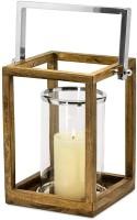 SALE Laterne Windlicht Granby, klappbarer Griff, Holz, Edelstahl hochglanzpoliert, Glaseinsatz, H 28