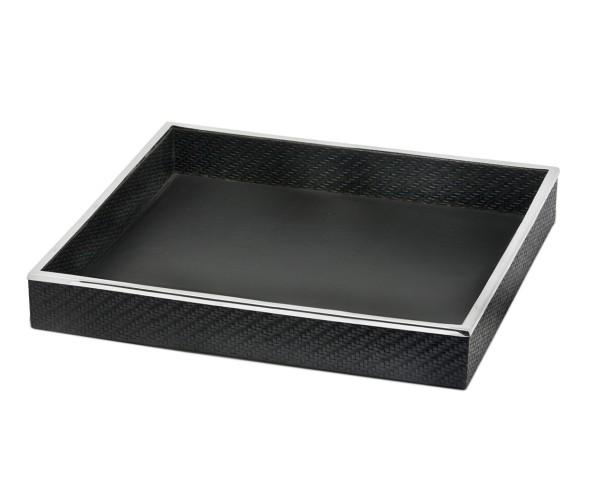 Tablett Serviertablett Jackson, quadratisch, Stahl mit Kunstlederbezug, 42 x 42 cm
