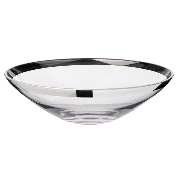 Schale Dekoschale Cora, mundgeblasenes Kristallglas mit Platinrand, Durchmesser 33 cm