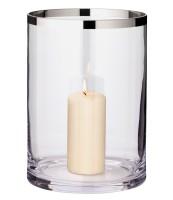 Windlicht Molly, mundgeblasenes Kristallglas mit Platinrand, Höhe 25 cm, Durchmesser 18 cm