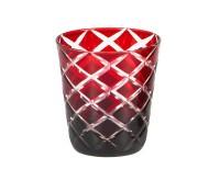 Kristallglas / Teelichthalter Dio, rot, handgeschliffenes Glas , Höhe 10 cm, Füllmenge 0,23 Liter
