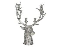 Kerzenleuchter Rentier, für 6 Kerzen, Aluminium vernickelt, Höhe 65 cm, für Stabkerzen