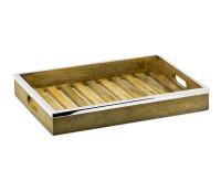 Tablett Serviertablett Mango, Holz mit Edelstahlrand, rechteckig, 45 x 33 cm