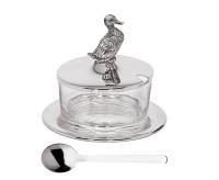 Marmeladenglas Ente mit Untersetzer und Löffel, edel versilbert, Höhe 12 cm, ø 14 cm, ø Glas 9 cm