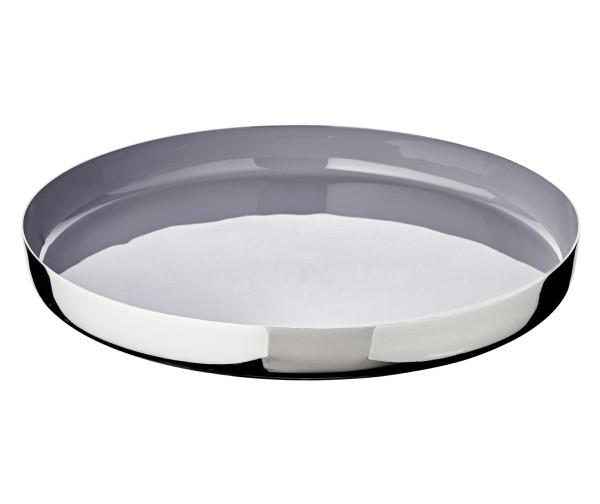 SALE Tablett Serviertablett Clemens, Aluminum vernickelt, innen grau lackiert, Durchmesser 40 cm