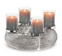 Adventskranz Verona, Edelstahl glänzend vernickelt, ø 36 cm, mit Gläsern, für Stumpenkerzen ø 6 cm
