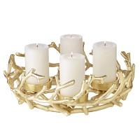 Adventskranz Porus Gold, Geweih-Design, Aluminium vernickel, Durchmesser 30 cm, für Kerzen ø 6 cm