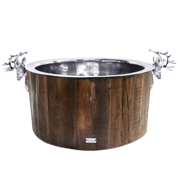 Sektkühler Kennington, 2 Hirschköpfe, Holz, Edelstahl glänzend vernickelt, ø 47 cm, H 24 cm, 11 kg