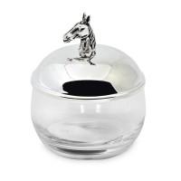 Glasdose Marmeladendose Pferd, Deckel edel versilbert, anlaufgeschützt, Höhe 12 cm