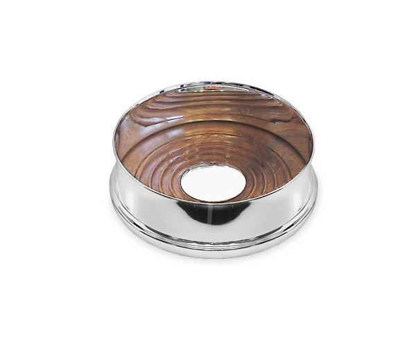 Flaschenuntersetzer Pero mit Holzboden, Echtsilber 925/000, Durchmesser 13 cm