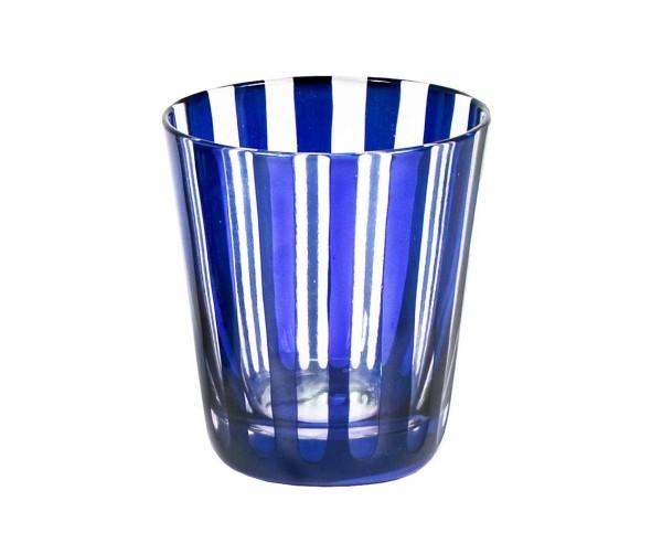 SALE Kristallglas / Teelichthalter Ela, blau, handgeschliffenes Glas , Höhe 10 cm, Füllmenge 0,23 L