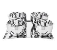 Eiscreme-Set Madeleine, Edelstahl doppelwandig, hochglanzpoliert, 4 Becher plus Tablett 20 x 20 cm