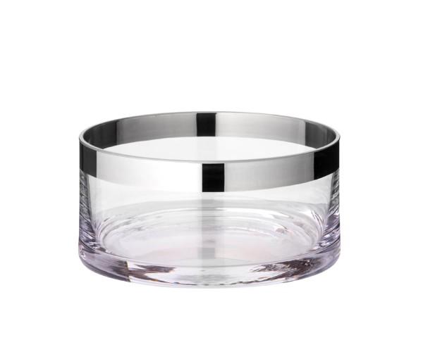 Schale Dekoschale Grit, mundgeblasenes Kristallglas mit Platinrand, Durchmesser 15 cm