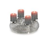 Adventskranz Verona, Edelstahl glänzend vernickelt, Durchmesser 30 cm, für Stumpenkerzen ø 6 cm