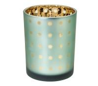 SALE Teelicht Teelichtglas Teelichthalter Duco, grün / gold, Sternchen-Motiv, Höhe 12,5 cm