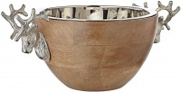 Schale Snackschale Dekoschale Hirsch, Mangoholz, Aluminium vernickelt, Länge 30 cm, Breite 20 cm