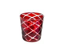 Kristallglas / Teelichthalter Dio, rot, handgeschliffenes Glas , Höhe 8 cm, Füllmenge 0,14 Liter