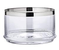 Glasschale Servierbox Vigo, mundgeblasenes Kristallglas mit Platinrand, ø 19 cm, Höhe 12 cm