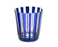 Kristallglas / Teelichthalter Ela, blau, handgeschliffenes Glas , Höhe 10 cm, Füllmenge 0,23 Liter