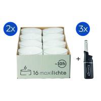 32 Stück Wenzel Maxilights transparente Maxi-Teelichter, ø 56 mm, Plus 3 Mini-Stabfeuerzeuge