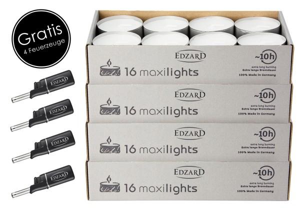 64 Stück Wenzel Maxilights Maxi-Teelichter, weiß, Durchmesser 58 mm, Plus 4 Mini-Stabfeuerzeuge
